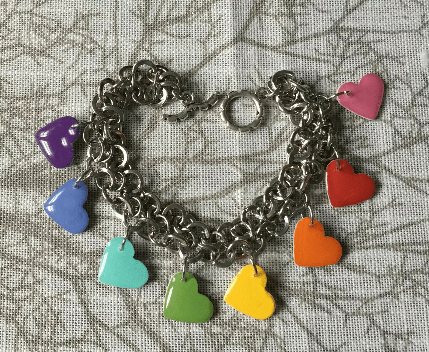 rainbow hearts resin bracelet tutorial