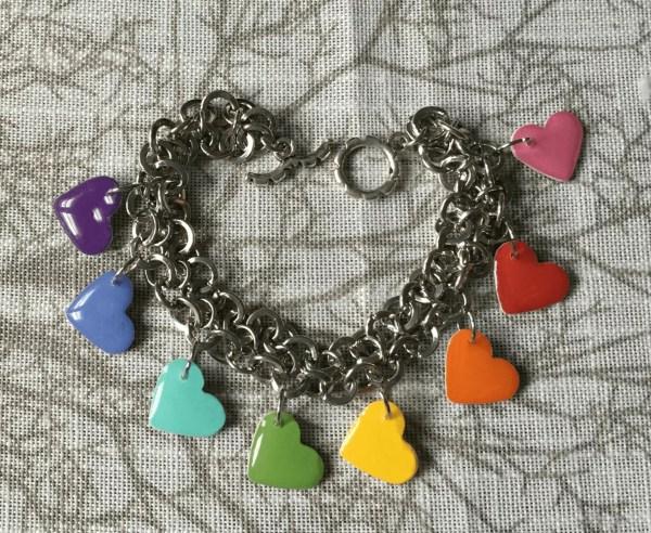 rainbow hearts resin bracelet tutorial