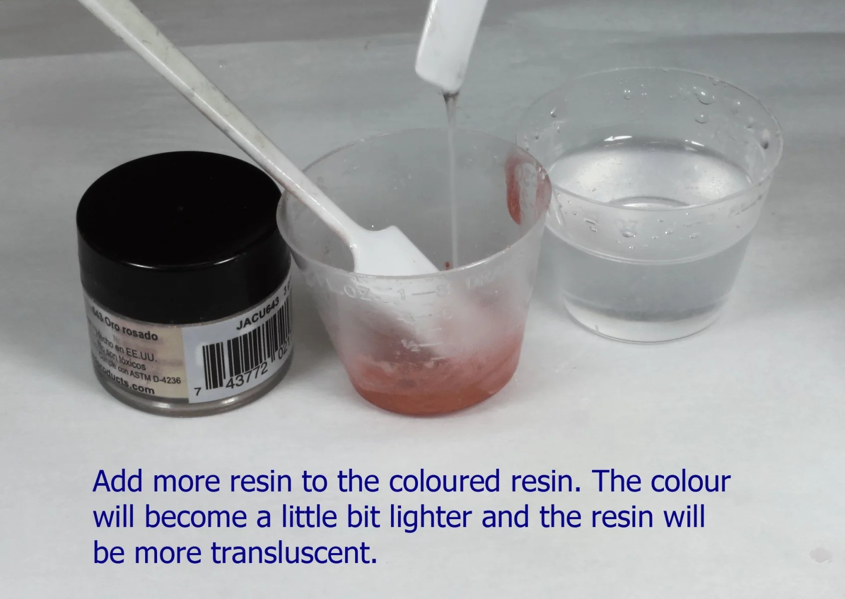mixing resin with pearl ex powder pigment