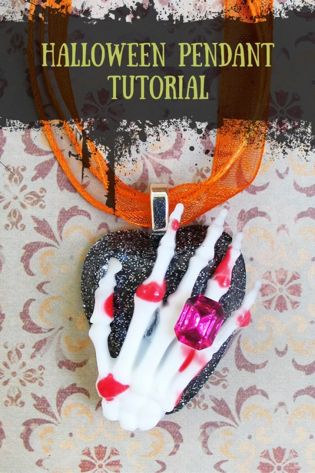 Halloween jewelry DIY - how to make a skeleton pendant for Halloween