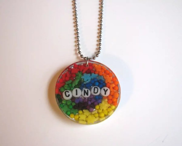 Rainbow Candy Name Resin Pendant Finished