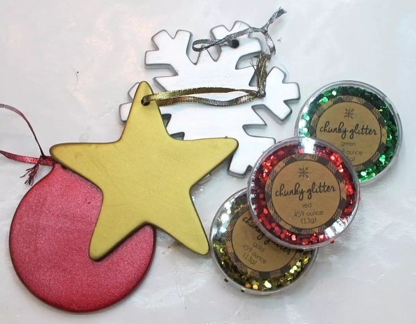 painted ornaments and glitter