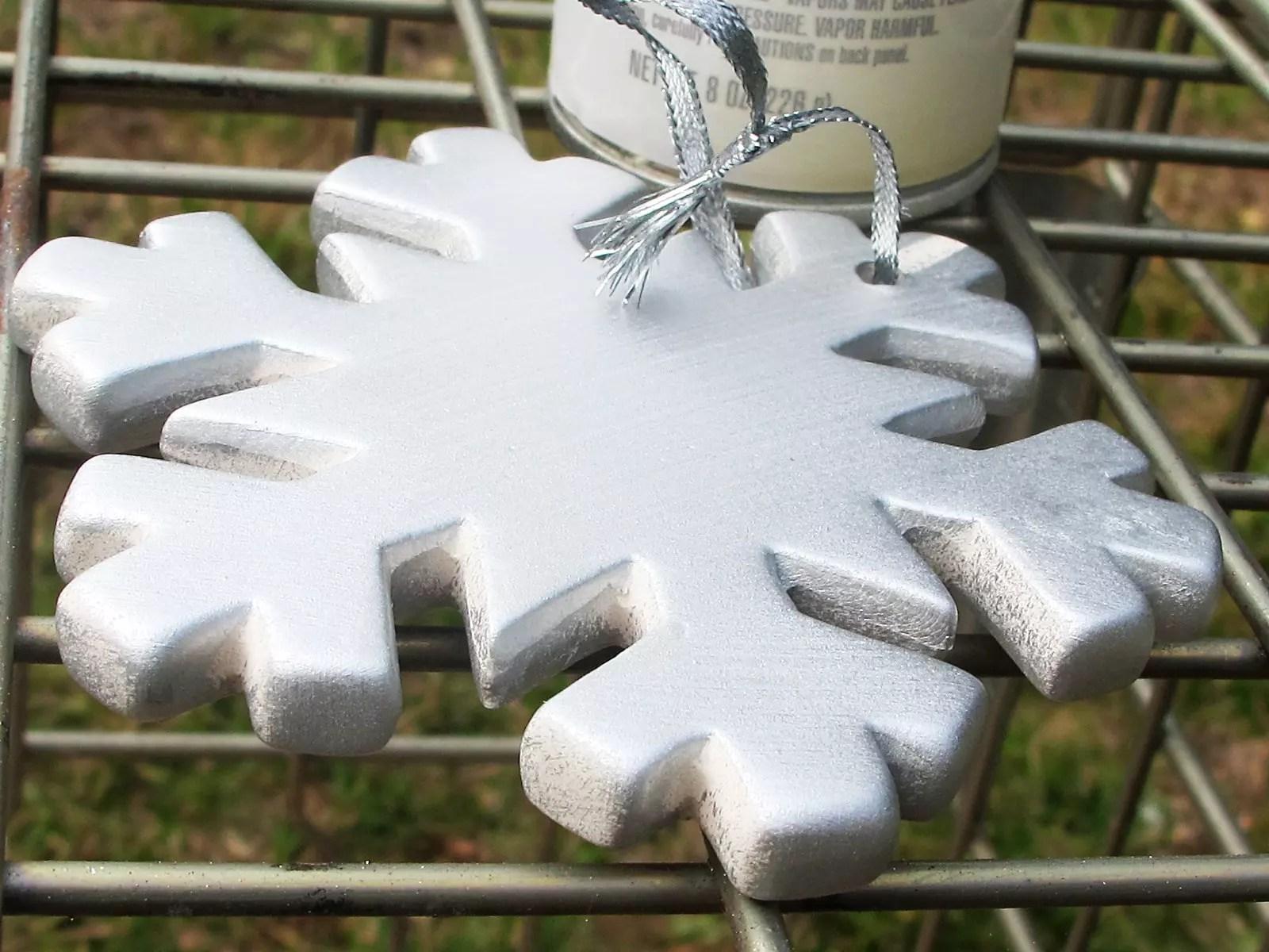 ceramic snowflake painted silver