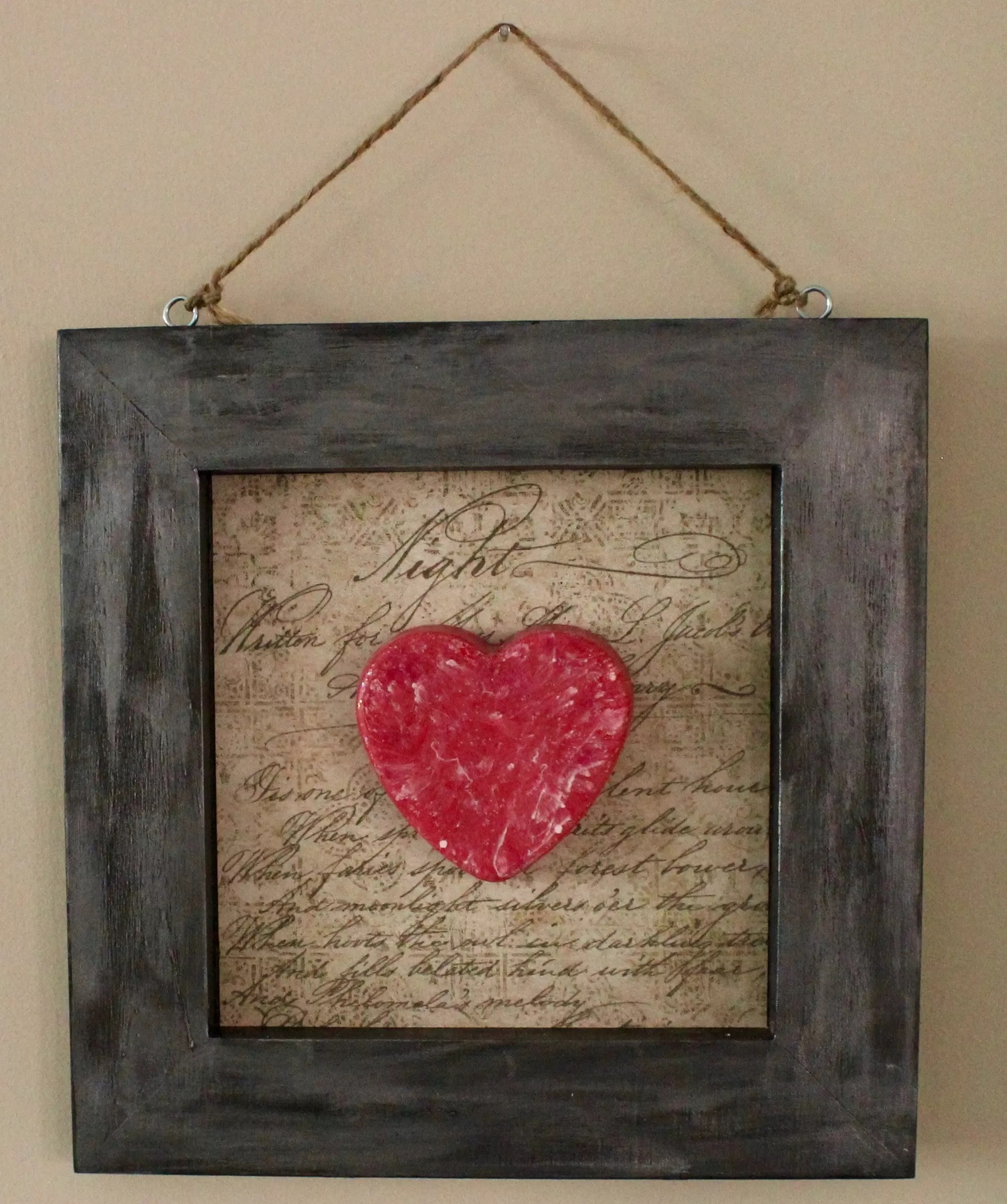 resin heart art