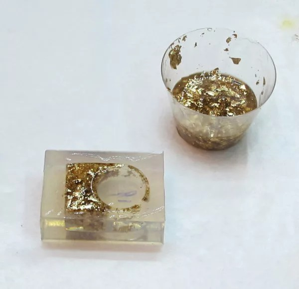 resin and gold leaf ring