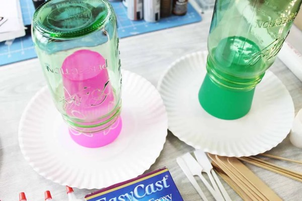 invert mason jars on top of cups