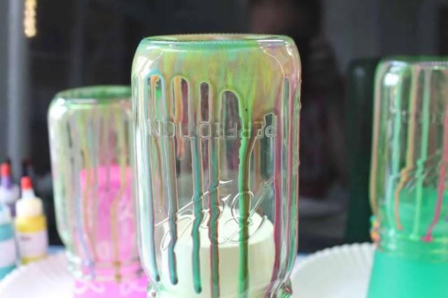 dripping colored resin on mason jar method 3