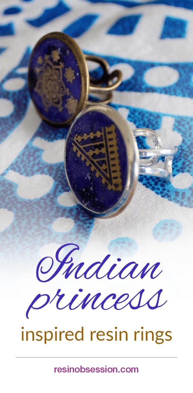 How to make Indian Princess Inspired Resin Rings -gold mandala designs on deep purple resin background