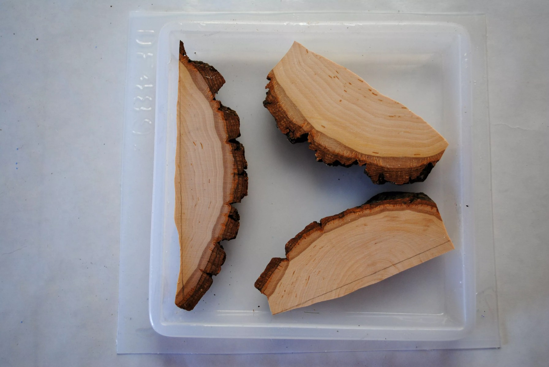 three cut pieces of wood in a square resin mold
