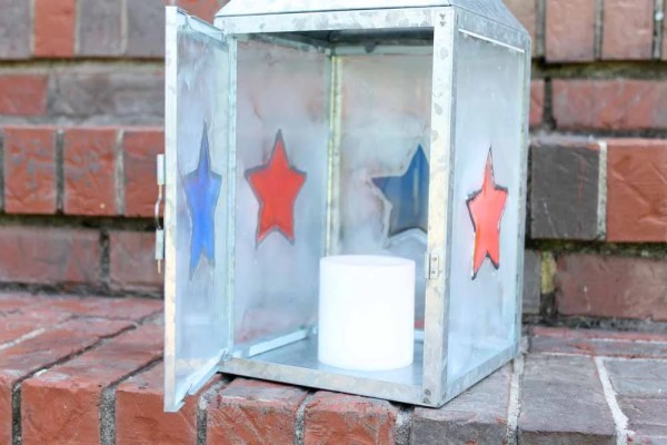 resin patriotic lantern with candle inside