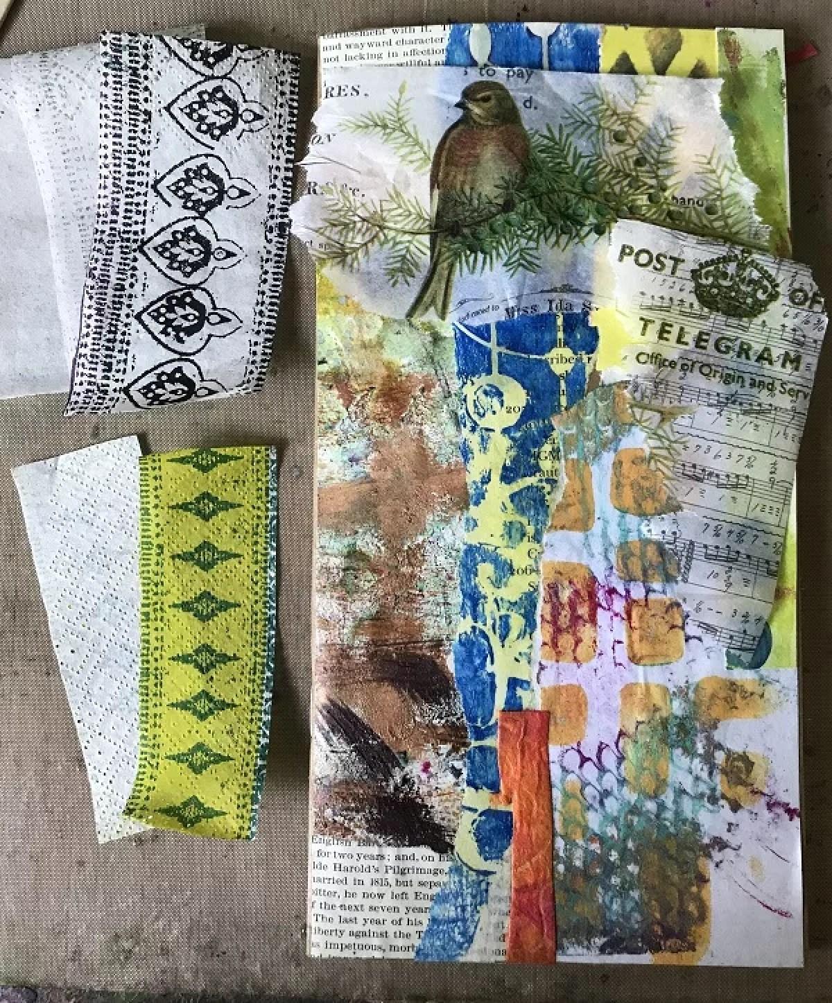 tissue paper on top of art jpurnal