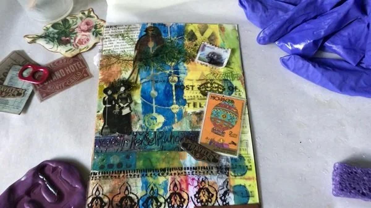 tissue paper added to resin art journal