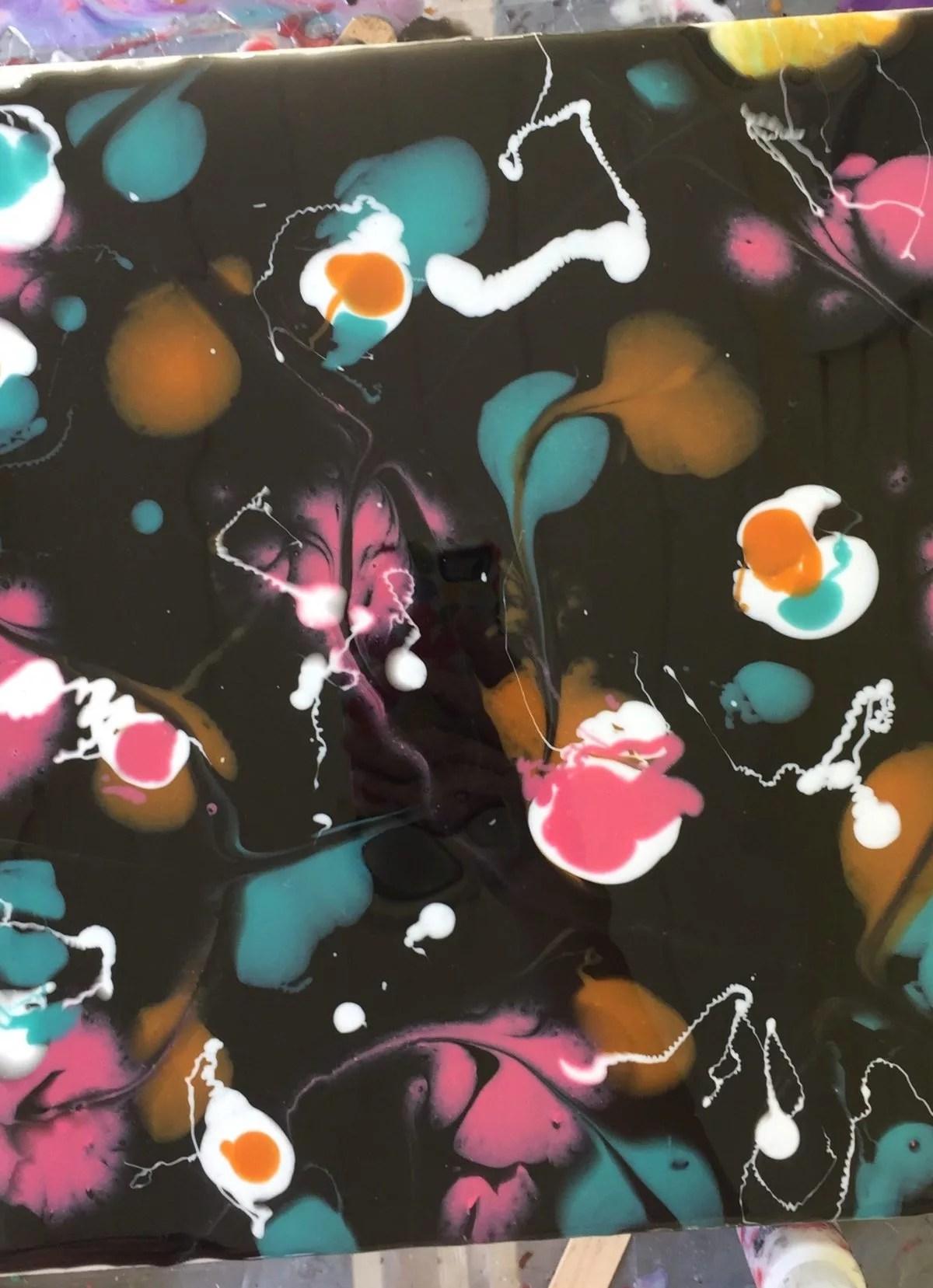 resin painting black white teal pink orange resin
