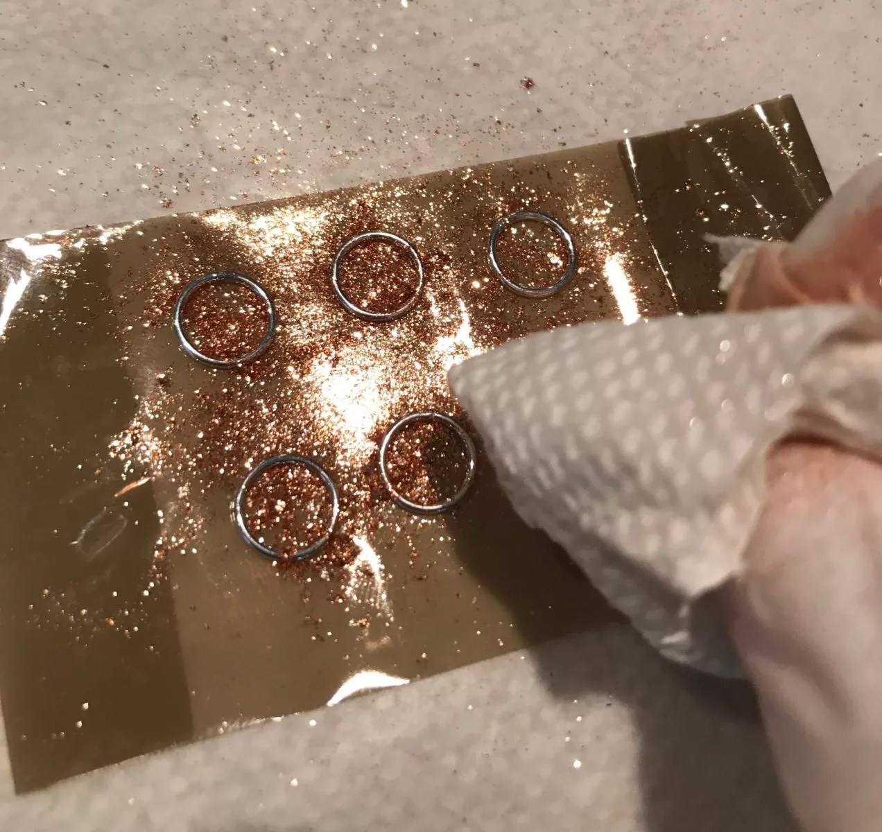 wiping excess powder