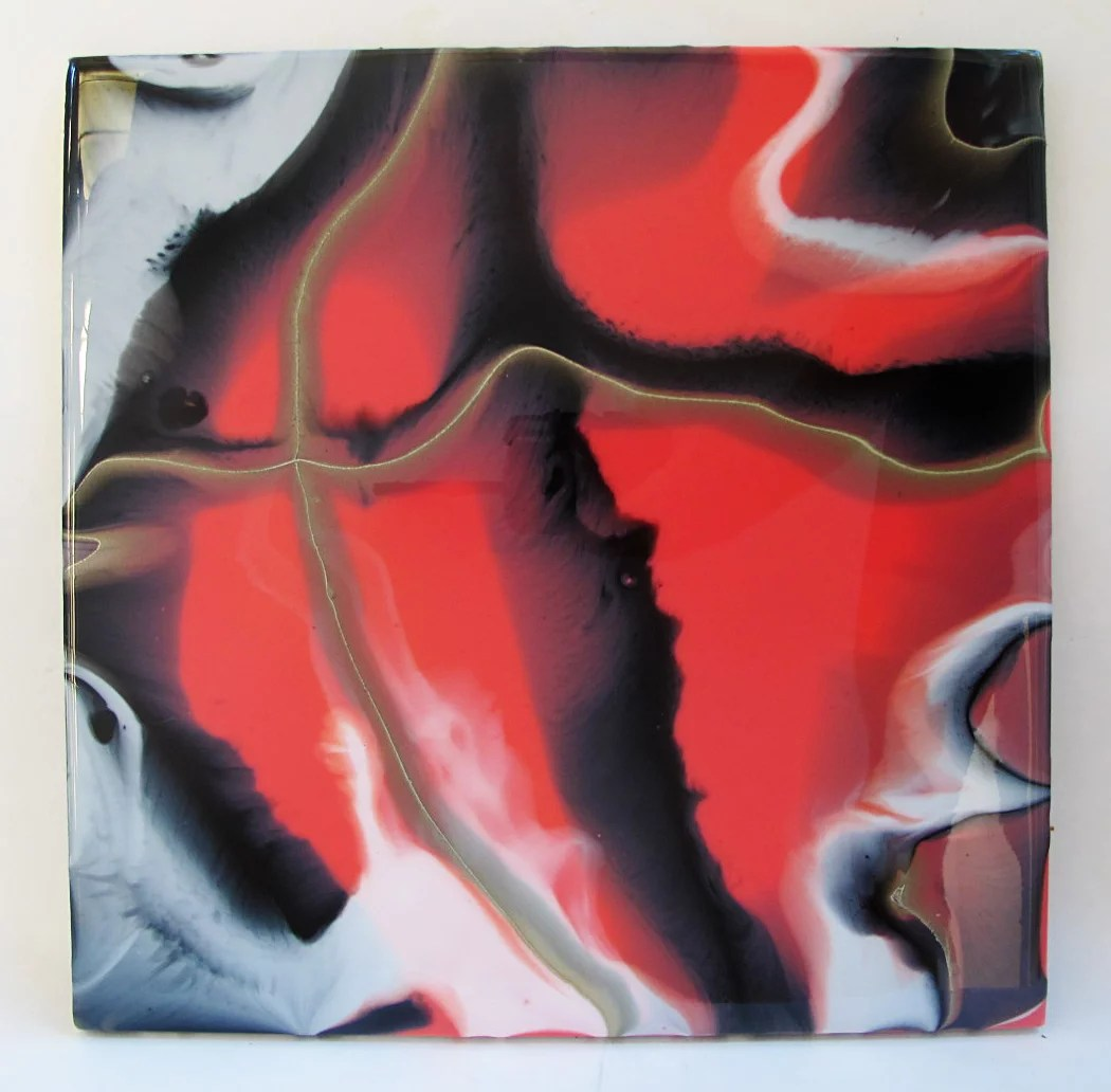 resin painting direct pour black white gold pink