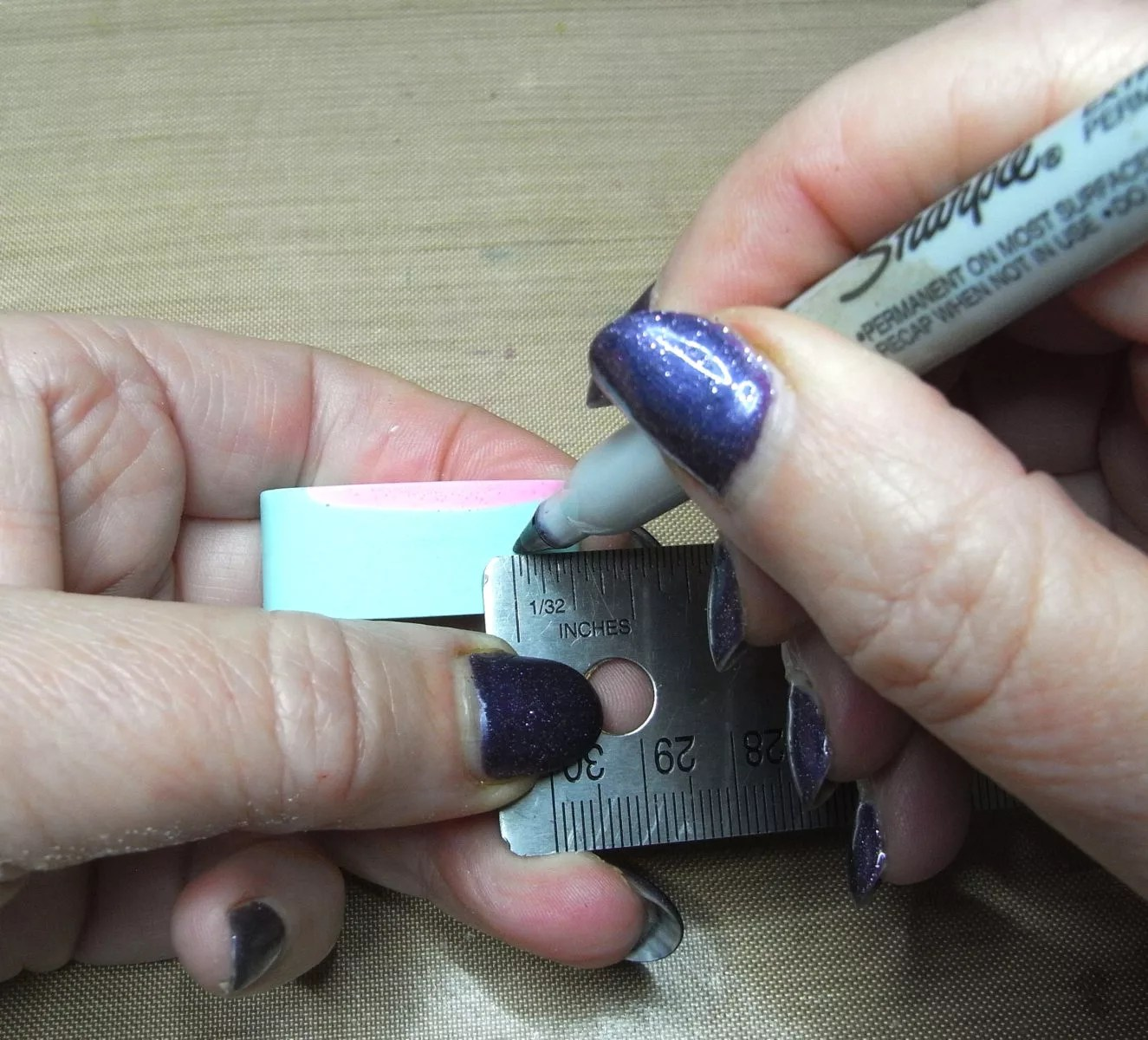marking resin charms for drilling