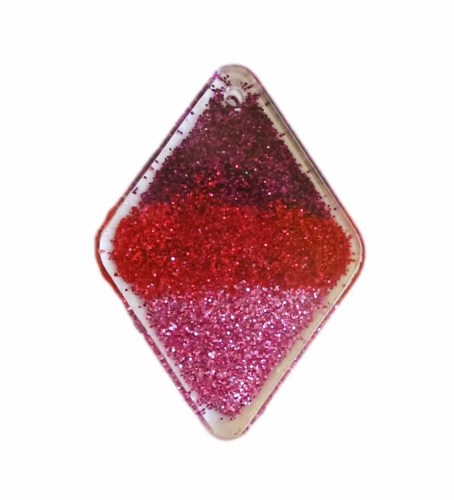 purple pink red glitter clear resin pendant