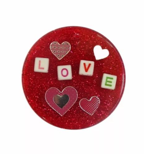 love resin pendant red glitter hearts sparkles