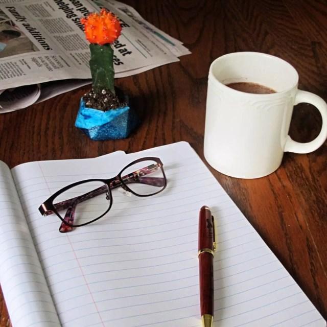 resin planter on desk