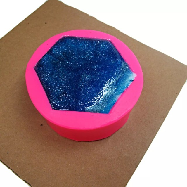 silicone vase mold filled with resin