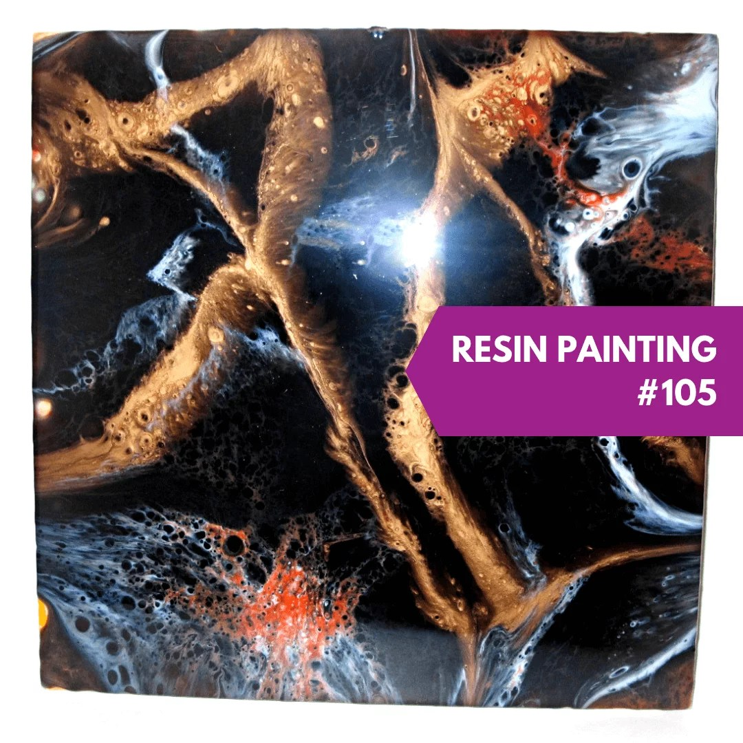 resin painting black orange copper