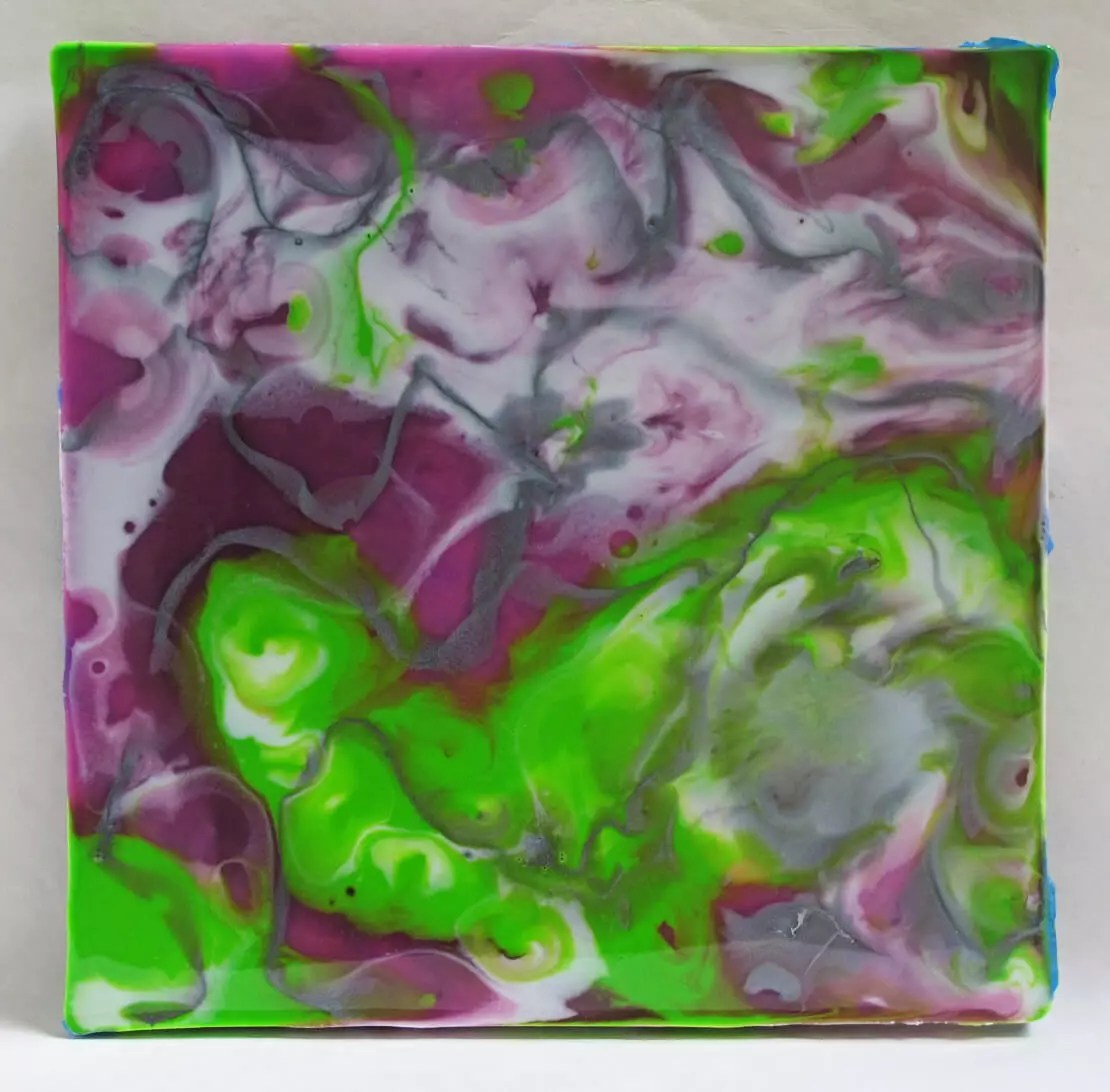 resin painting purple green