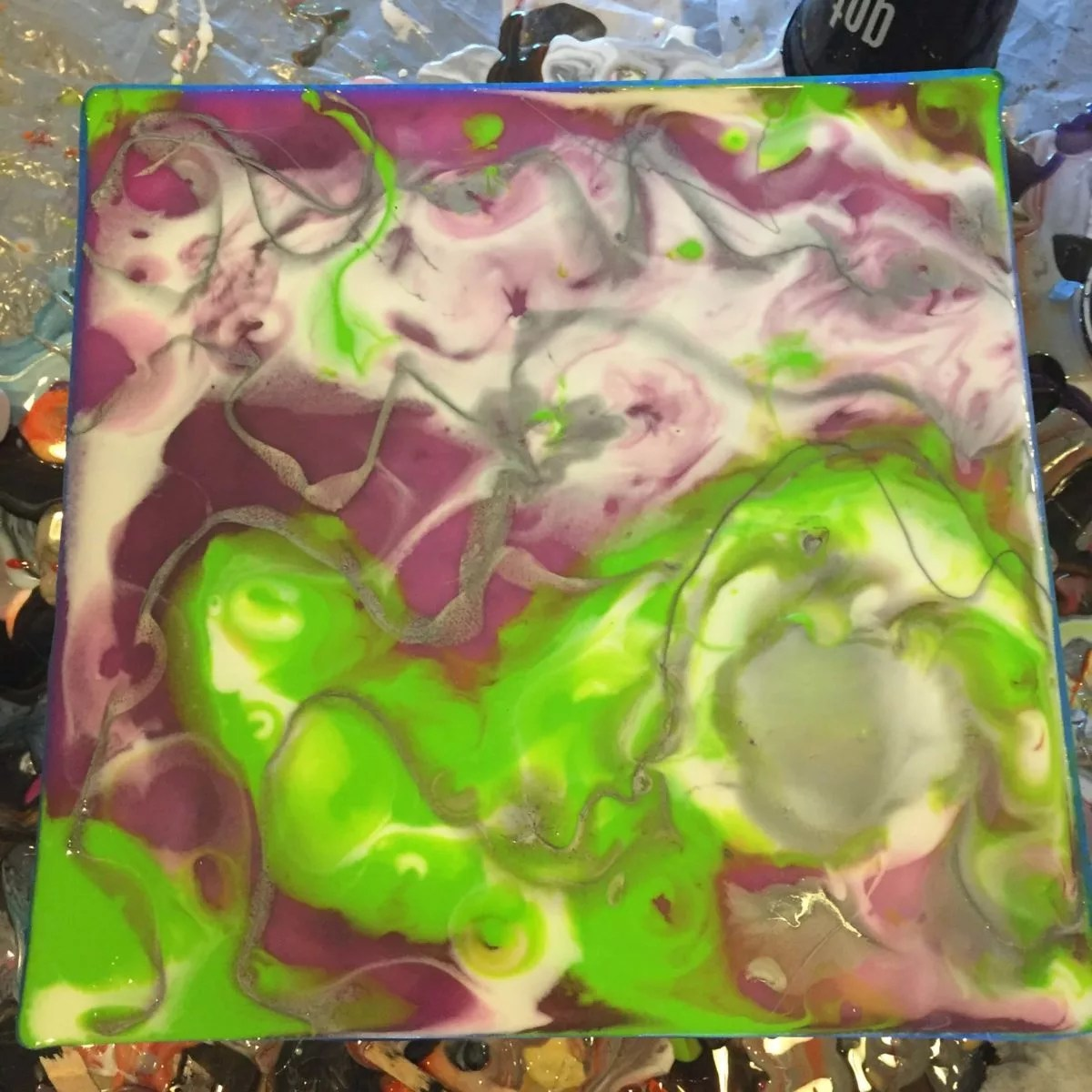 white purple green silver resin