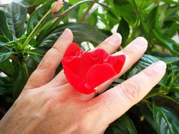 finished poppy ring