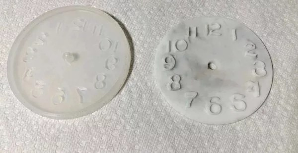 resin clock cured and pulled out of the mold