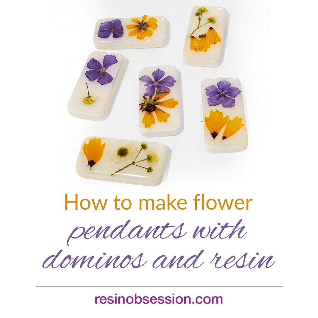 flower and resin domino pendants