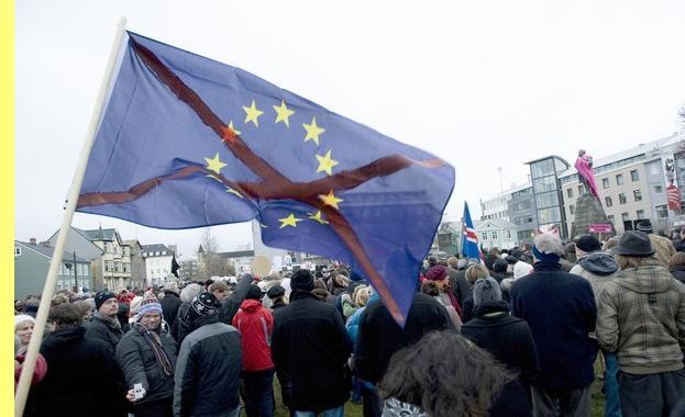 Manifestação contra a UE na capital islandesa.