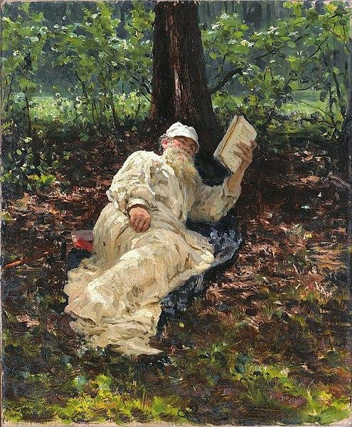 León Tolstói descansando en el bosque. 1891. REpin - Prólogo a León Tolstoi por Arturo Uslar-Pietri