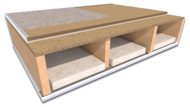 ResoDeck acoustic chipboard laid on a solid joist timber floor
