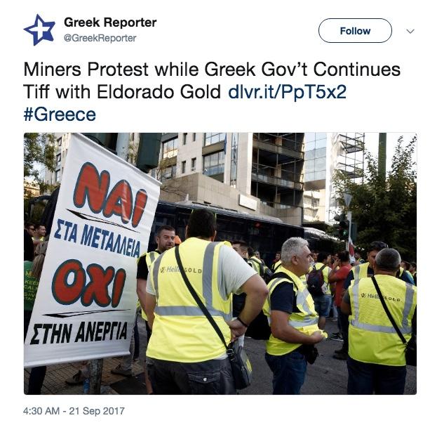 Eldorado defers decision to halt operations in Greece as talks with Gov't begin