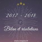 Bilan 2017 – résolutions 2018
