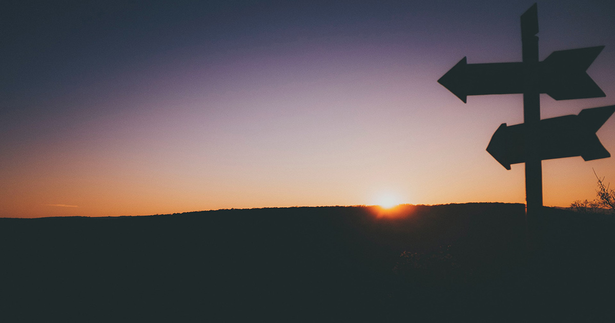 The sun rises on the horizon, while signposts are silhouetted in the foreground.