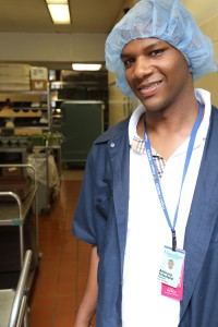 Project SEARCH intern Anthony Telesford ready for another day on the job in the kitchen at Montefiore New Rochelle (photo credit POSITIVE EXPOSURE)