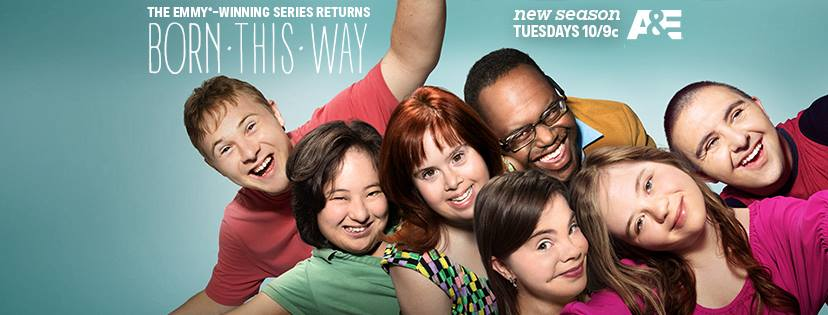 Text: The Emmy-Award winning series returns: Born This Way with images of the cast