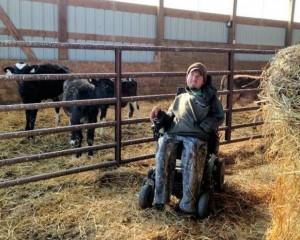 Jake Spece tending calves at Johnston Creek Farms