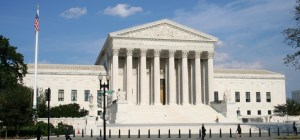 exterior shot of front of Supreme Court of the United States from across the street