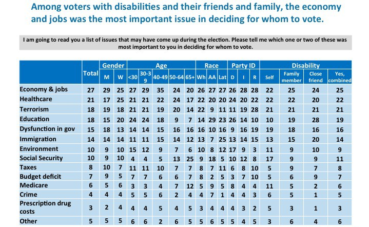 Among voters with disabilities and their friends and family, the economy and jobs was the most important issue in deciding for whom to vote. Most important issues for people with disabilities: Economy and jobs: 22% Healthcare: 22% Terrorism: 21% Education: 10% Dsyfunction in government: 19% Immigration: 13% Environment: 11% Social Security: 17% Taxes: 5 % Budget deficit: 5 % Medicare: 11% Crime: 6% Prescription drug costs: 5% Other: 3%
