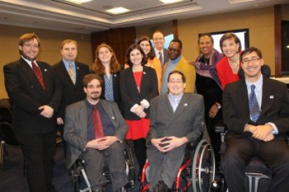 RespectAbility Fellows and Staff with John, a cast member of the tv show Born This Way, and Jonathan Murray of A&E.