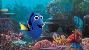 Screenshot of Finding Dory showing Dory swimming in the ocean