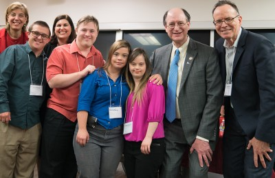 Born This Way cast members posing with RespectAbility staff members and Rep. Brad Sherman