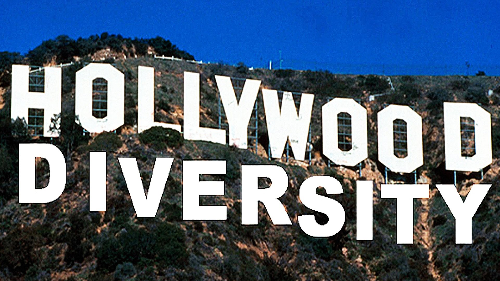 letters spelling out Hollywood and Diversity on top of a mountain with trees