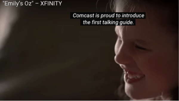 screenshot of Emily in a tv ad