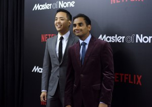 """NEW YORK, NY - NOVEMBER 05: Actors Alan Yang (L) and Aziz Ansari attend the """"Master Of None"""" New York premiere at AMC Loews 19th Street East 6 Theater on November 5, 2015 in New York City. (Photo by Noam Galai/Getty Images)"""