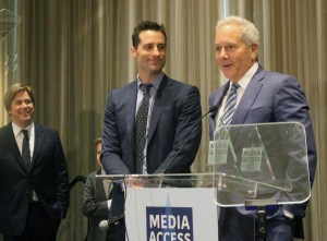 David Hoberman and Todd Lieberman accepting their Media Access award