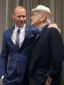 Oliver Trevena with his arm around Norman Lear