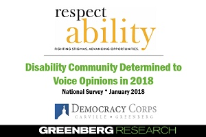 """Disability community determined to voice opinions in 2018"" survey cover slide"